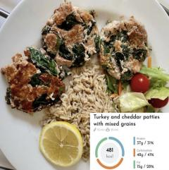 Turkey and cheddar patties with mixed grains recipe